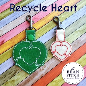 Recycle Heart -  TWO Sizes INCLUDED!!!