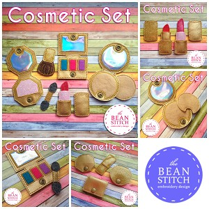 Cosmetic Set - Created for 4x4 Hoop!   FOUR designs and accessories INCLUDED!!!